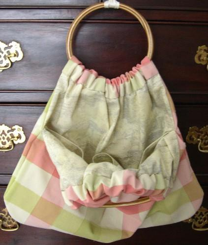 Hand Crafted Ring Handle Purse Project Tote in Fresh Spring Windowpane
