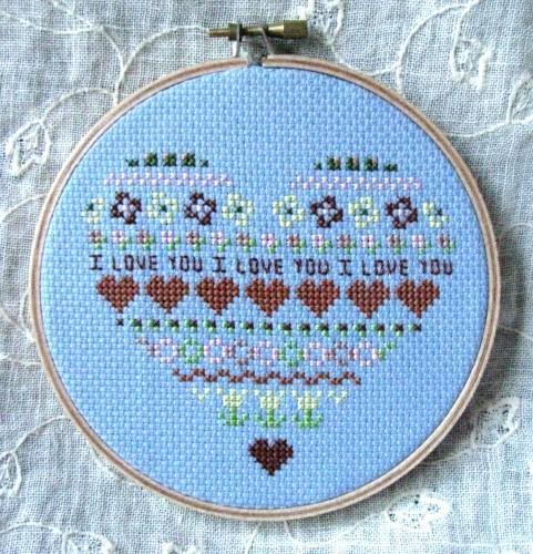 Sweet Heart in Blues Embroidery Hoop Wall Art
