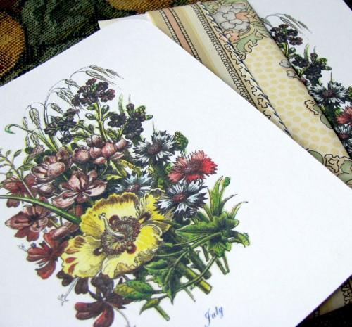 Victorian July Flower Bouquet Note Flat Botanical Stationery Set