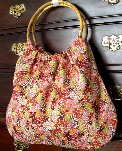 Hand Crafted Classic Tote Purse or Project Bag in Retro Flower Power