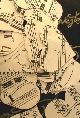 Vintage Sheet Music Packet of 50 Die Cut Heart Punches