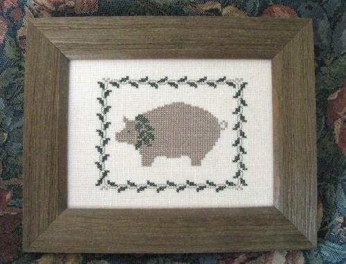Finished and Framed Hand Stitched Country Pig and Ivy Embroidered Sampler -