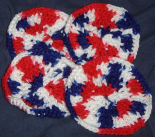 Crochet-Patriotic Coasters Set of 4