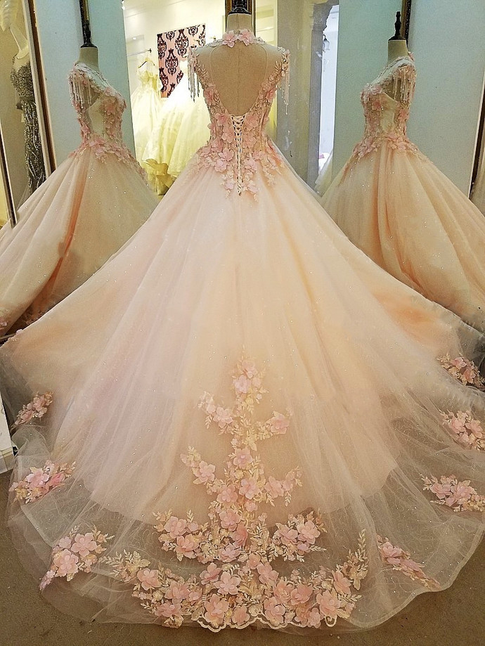 Pink Tulle Sweetheart Long Party Dress, Ball Gown Pink Prom Dress Evening Gown