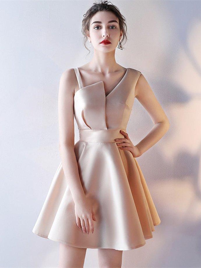 One Shoulder Satin Knee Length Homecoming Dress, Short Prom Dress