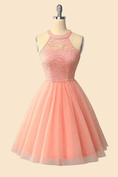 Pink Lace Short Homecoming Dress, Cute Prom Dresses T1917