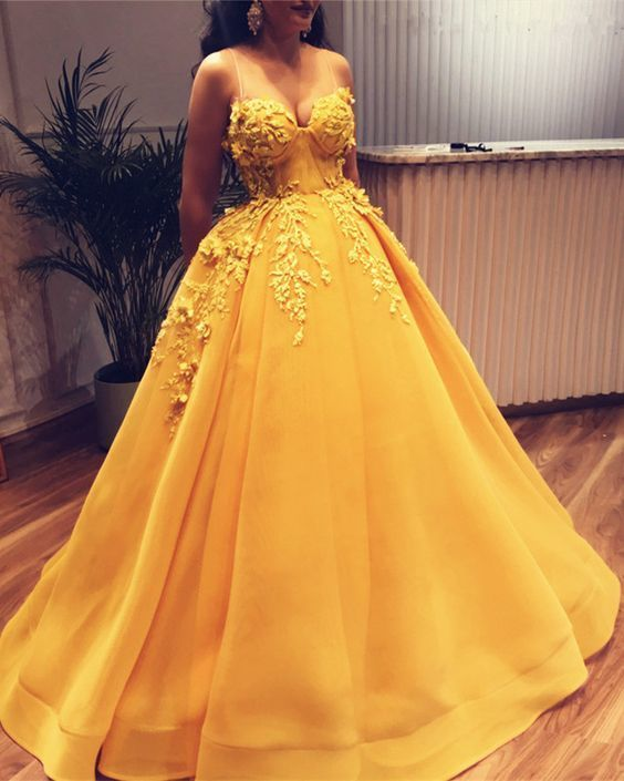 Elegant Appliques Yellow Formal Quinceanera Dress, Long Ball Gown Prom Dress