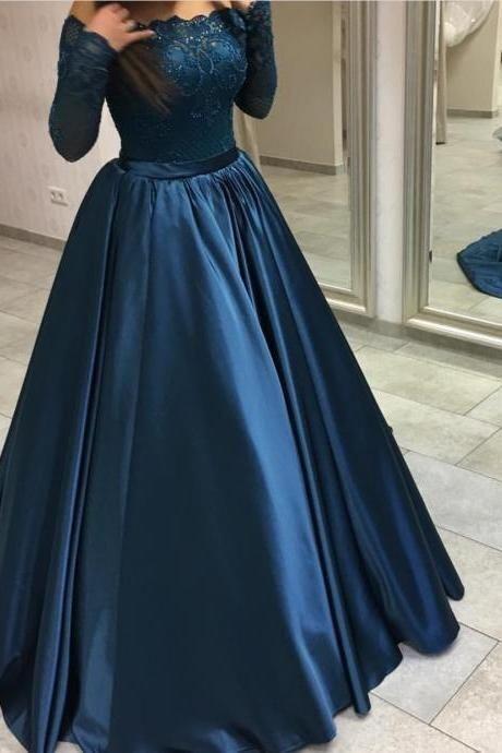 Long Sleeve Appliques Evening Dress, Formal Women Dress T1925