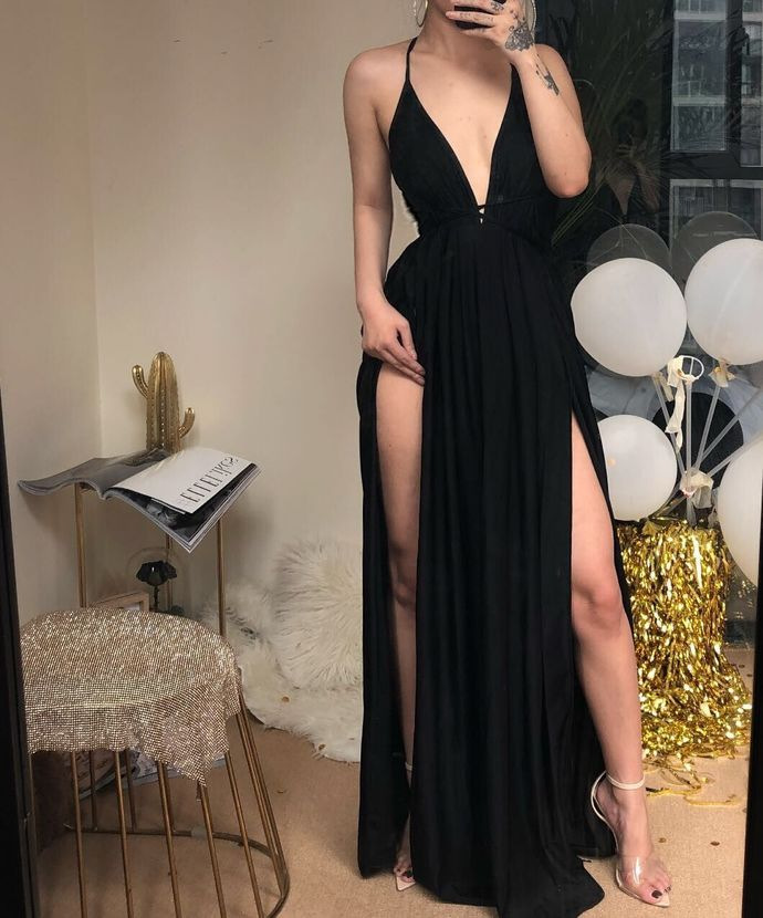 Sexy Black Slit Chiffon Prom Dress, Simple Evening Dress T1927