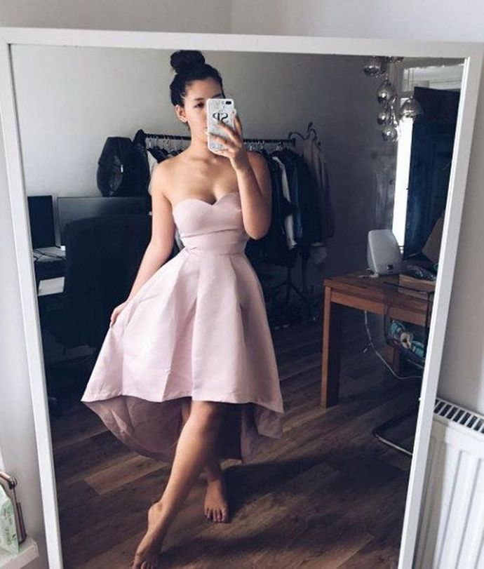 Simple Hi-low Strapless Prom Dress, Sexy Evening Dress T1932