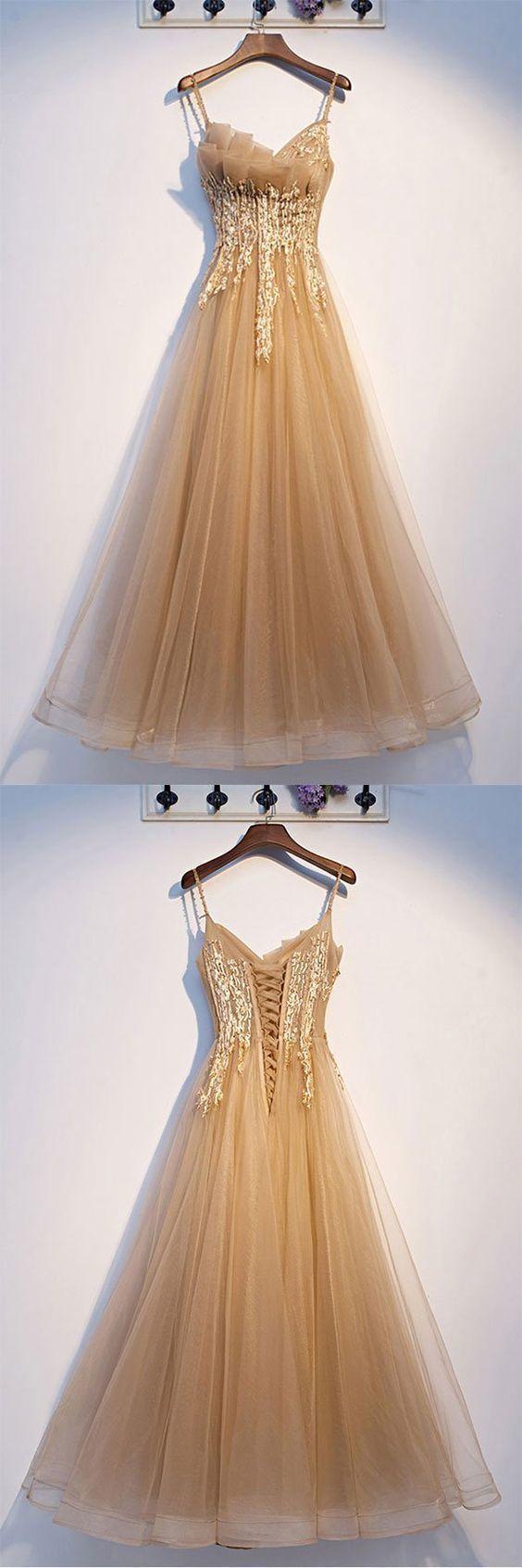 Elegant Spaghetti Straps Champagne Tulle Long Prom Dress T1937