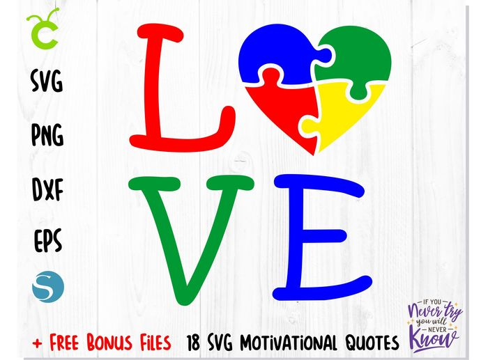 AUTISM SVG, Autism puzzle heart love SVG, Autism puzzle vector file, Autism png,