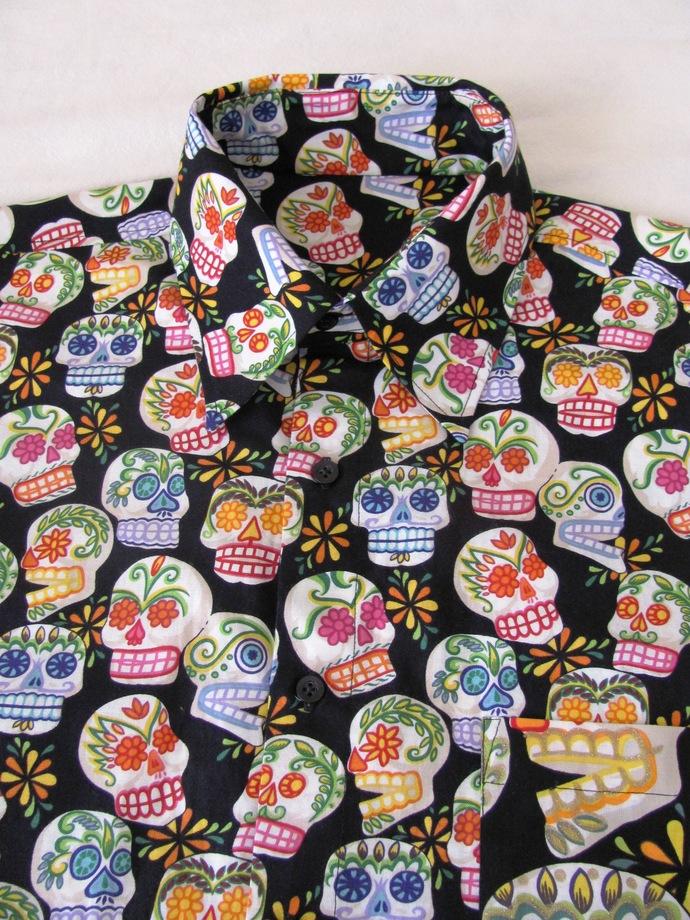 Black Sugar Skull Day of the Dead Men's Shirt Short Sleeve. All Cotton Print.