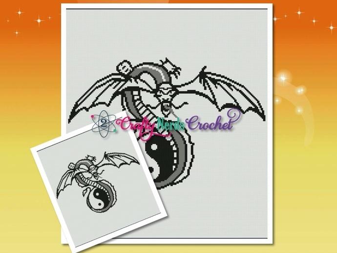 Dragon With Yin Yan Pattern Graph With Single Crochet Written