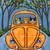 Autumn Coffee Road Trip Original Whimsical Cat Folk Art Painting