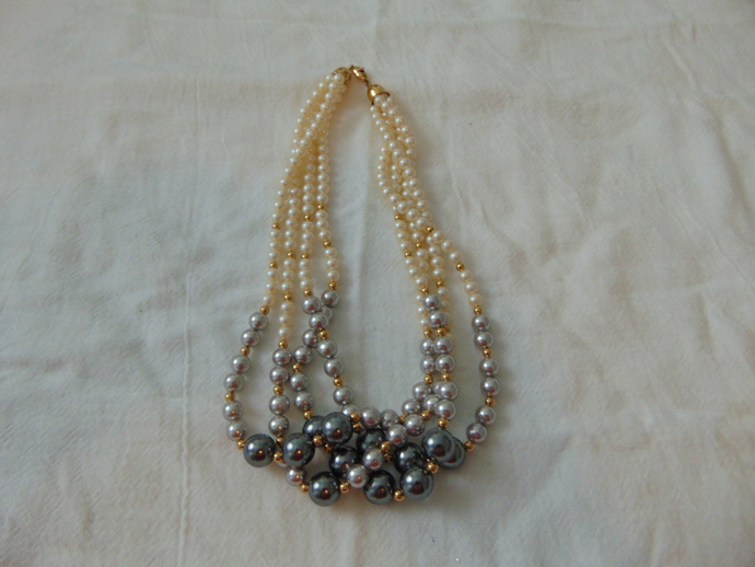 vintage monet signed four strand white grays pearl necklace goldtone spacers