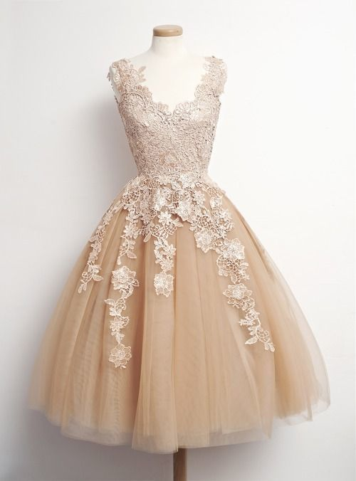 Fashion Tulle Champagne Appliques Short Homecoming Dress, Formal Prom Dress