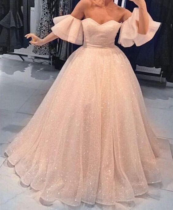 Fashion Pink Off Shoulder Ball Gown Prom Dress, Formal Dress