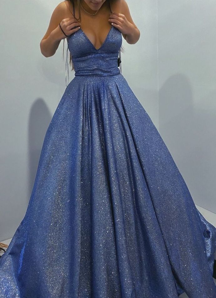 Pretty V neck Sequins Long Prom Dress Ball Gown, Formal Evening Gown T1952