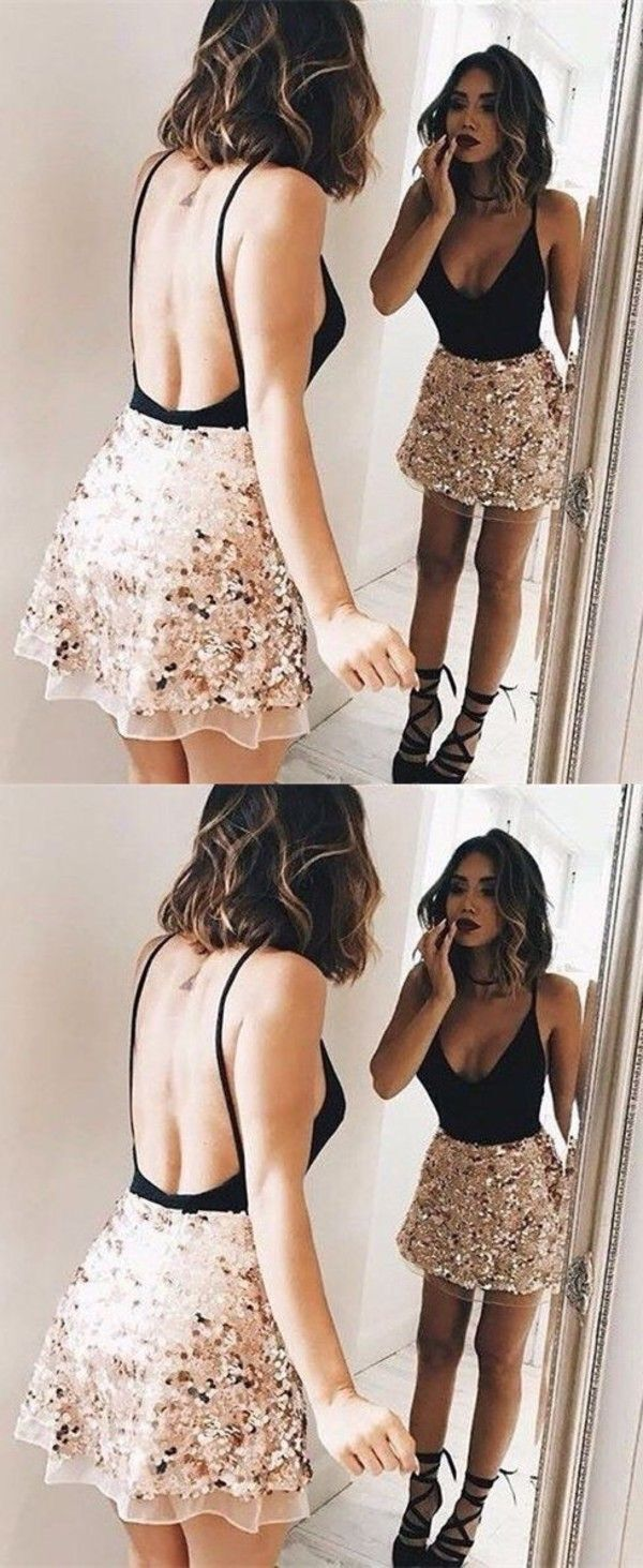 Sexy Backless Short Party Dress, Beaded Cocktail Dress T1970