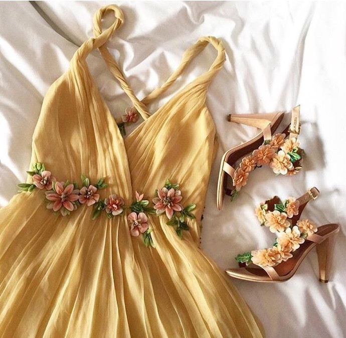 Fashion A Line Yellow Long Prom Dress, Evening Formal Dress T1973