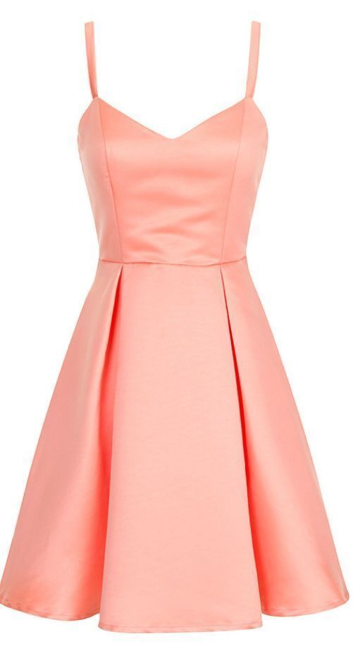 Fashion A Line Straps Satin Homecoming Dress, Cute Prom Dress T1975
