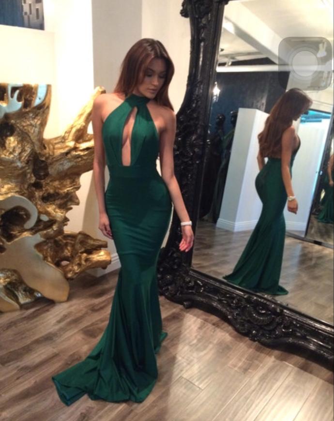 Sexy Sleeveless Mermaid Green Evening Dress, Long Prom Dresses T1976