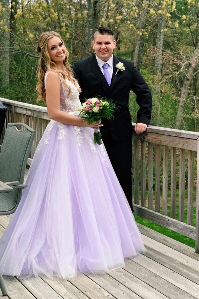 Charming Tulle Appliques Lavender Prom Dress, Long Evening Dress T1977