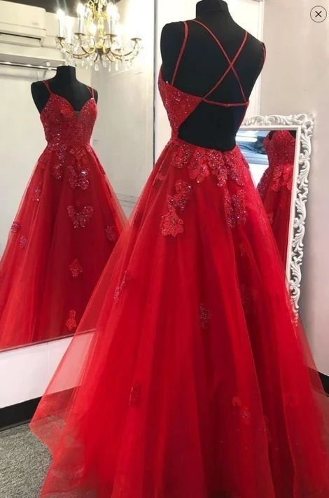 Fashion Tulle Red Open Back Appliques Long Prom Dress, Evening Dress T1953