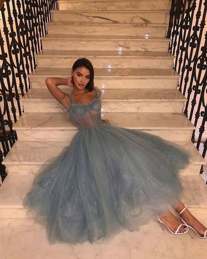 Fashion Tulle A Line Prom Dress, Grey Appliques Evening Dress T1954