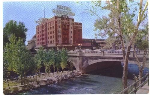 Reno Nevada Postcard Vintage Hotel Riverside and Truckee River View