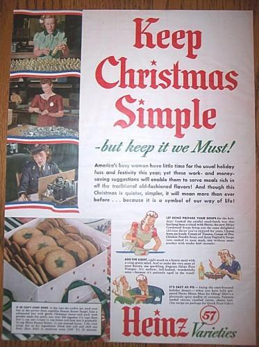 Heinz 57 Vintage  Christmas Ad Magazine Advertising 1940s WWII