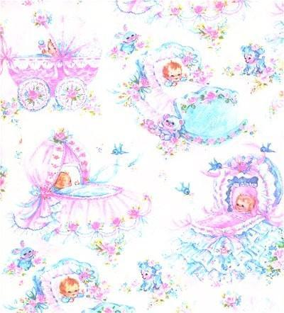 Baby Wrapping Paper Pink Blue Bassinet 1960s Vintage Shower Gift Wrap