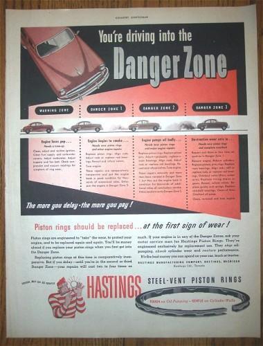 Vintage Hastings Piston Rings 1950s AD Advertising