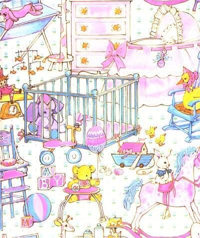 Wrapping Paper Baby Shower Nursery Crib Rocking Horse Vintage 1960s