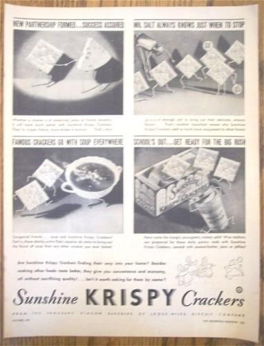 Vintage Cracker Ad Magazine Print 1930s Sunshine Krispy