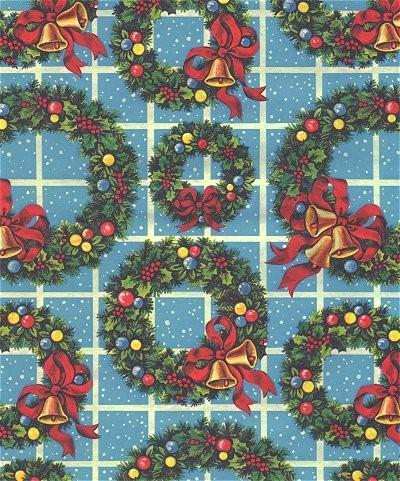 Christmas Wrapping Paper Blue Wreaths Vintage 1960s Gift Wrap