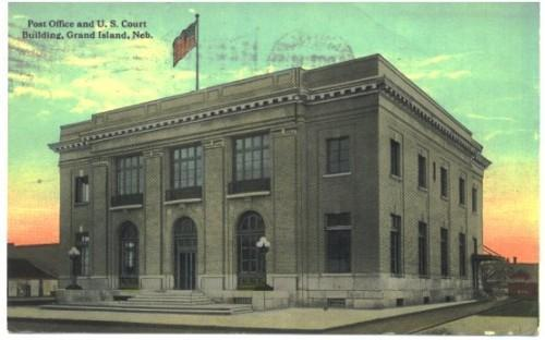 Grand Island Nebraska Postcard Post Office Court Vintage 1910s A-15435