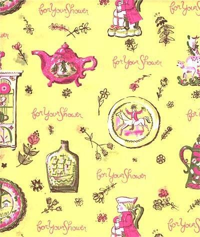 Shower Wrapping Paper Tea Coffee Pots Vintage 1960s Gift Wrap