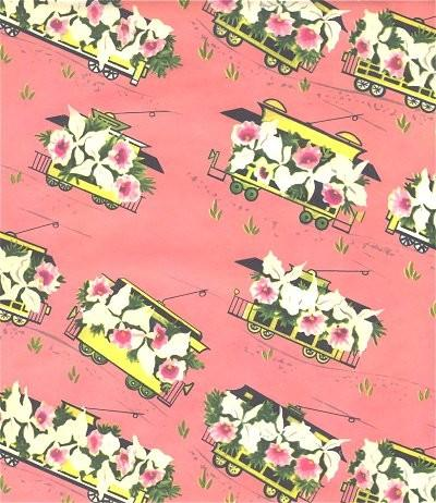 Vintage wrapping paper floral train by sandycreekcollectables on mightylinksfo