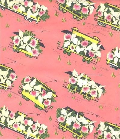 Vintage Wrapping Paper Floral Train Cars1950s Gift Wrap Scrapbooking