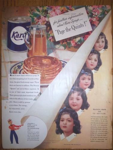 KARO SYRUP Vintage Magazine Print Ad 1930s Dionne Quintuplets