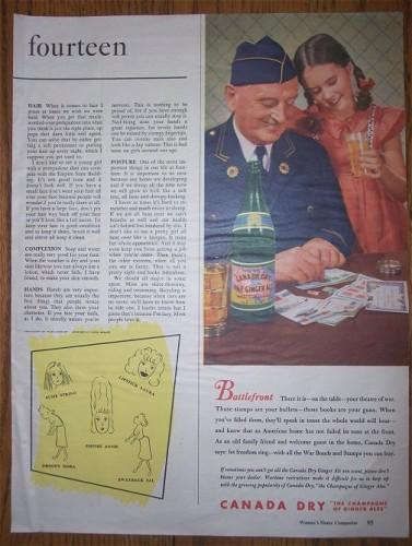 Vintage AD Canada Dry/ Military Man Veteran WWII  1940s Print Advertsing