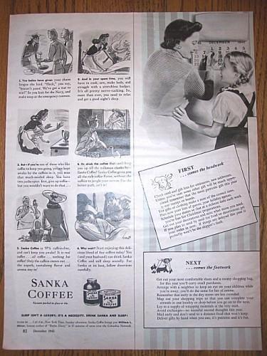 Vintage Magazine Ad 1940s Sanka Coffee Magazine Print  Advertising