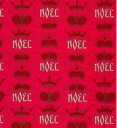 Christmas Wrapping Paper Noel Crowns Red Vintage 1950s Gift Wrap