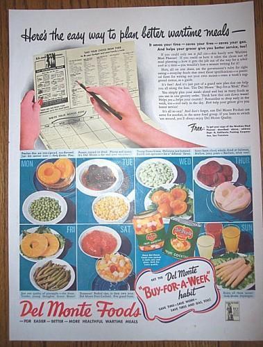 Vintage Del Monte Advertising 1940s Foods Magazine Print Ad