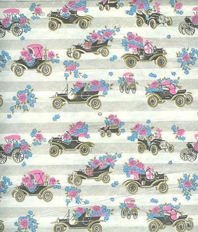 Vintage Wrapping Paper Antique Cars 1970s Gift Wrap
