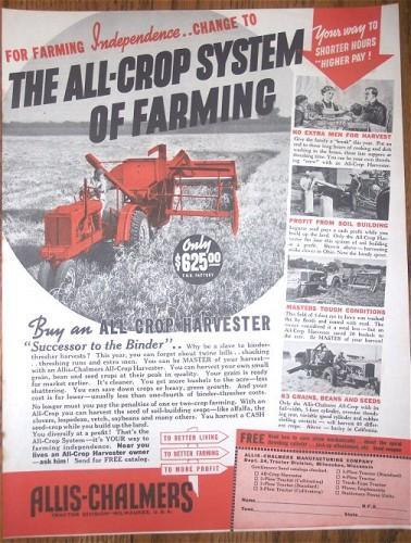 ALLIS CHALMERS Harvester Farm Vintage 1938 Print AD Advertising