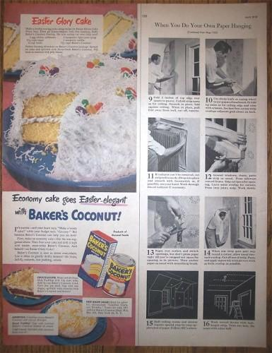 Vintage 1950s Magazine Print AD Bakers Coconut Advertising Cake