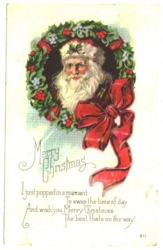 Vintage Santa Claus Christmas Postcard Wreath Red Bow 1920s Holland MN